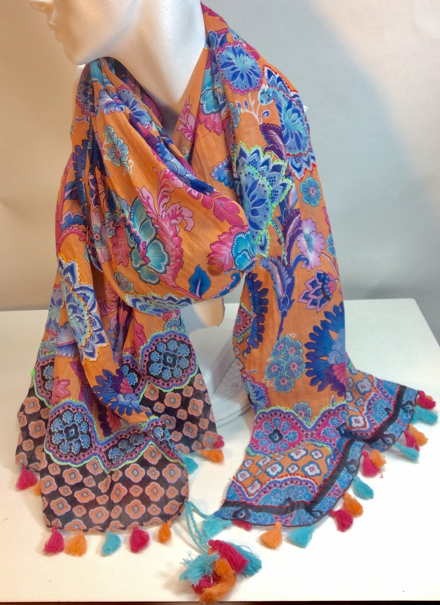 Vibrant multi coloured cotton scarf with tassels