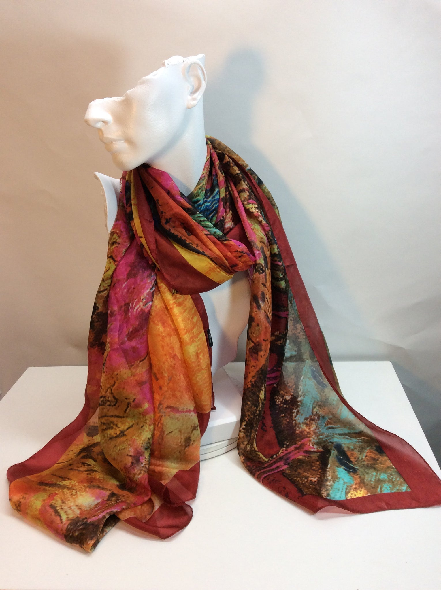 Multi coloured abstract design 100%silk scarf