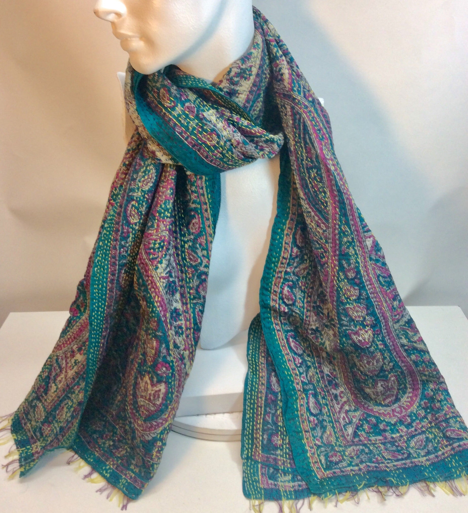 Paisley design in turquoise and pink silk scarf