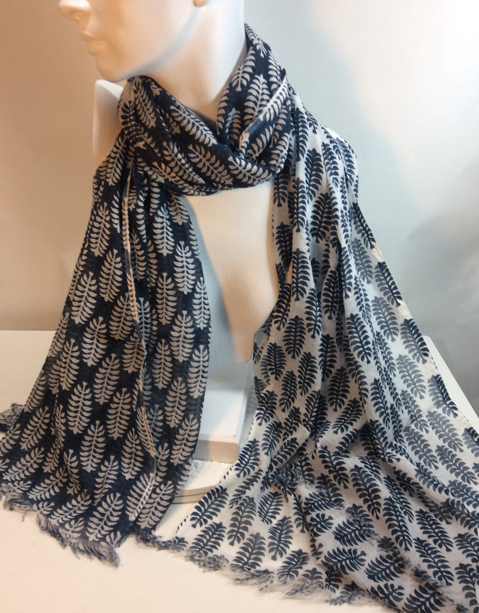 Navy and white painted cotton scarf
