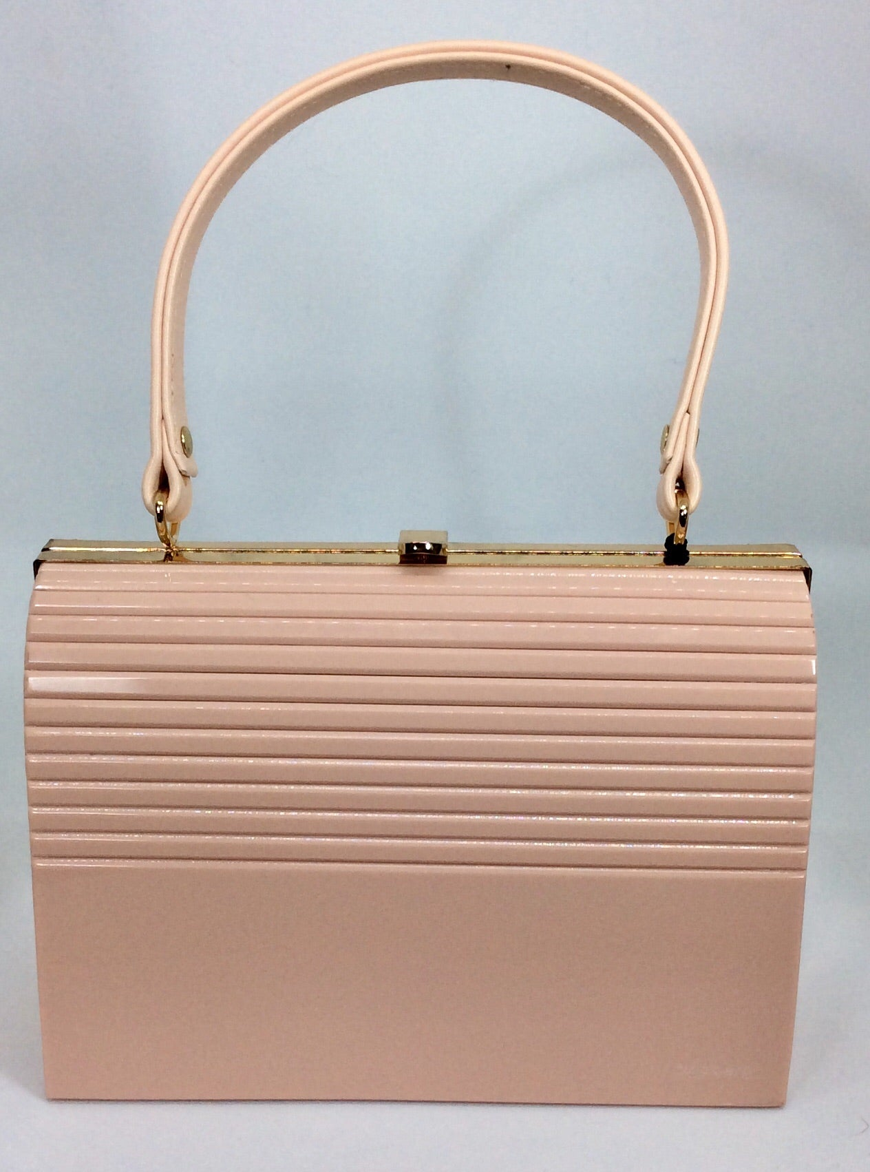 Salmon pink small bag with gold chain