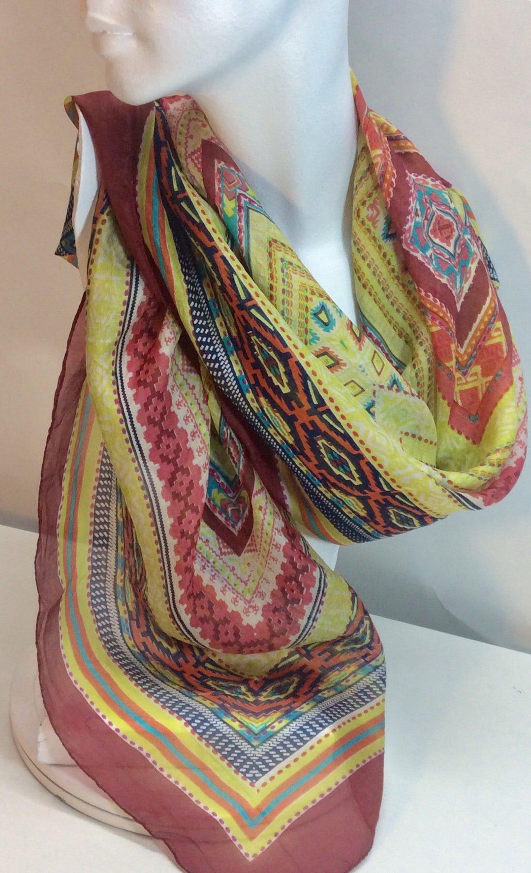 Lime squared multi coloured silk scarf
