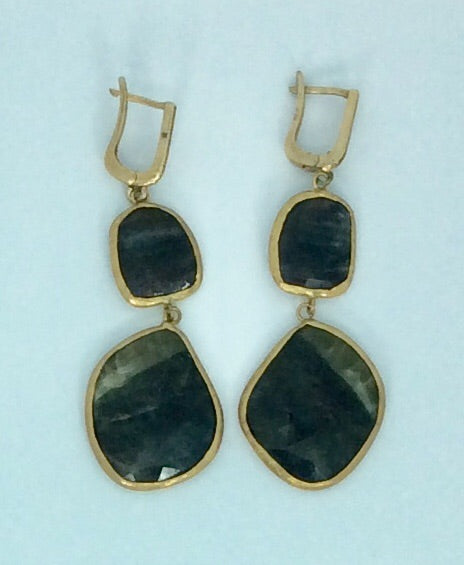 Saphire and gold plated drop earrings