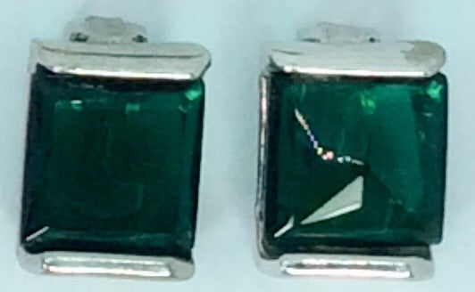 Italian Square emerald green and Rhodium plated clip on earrings
