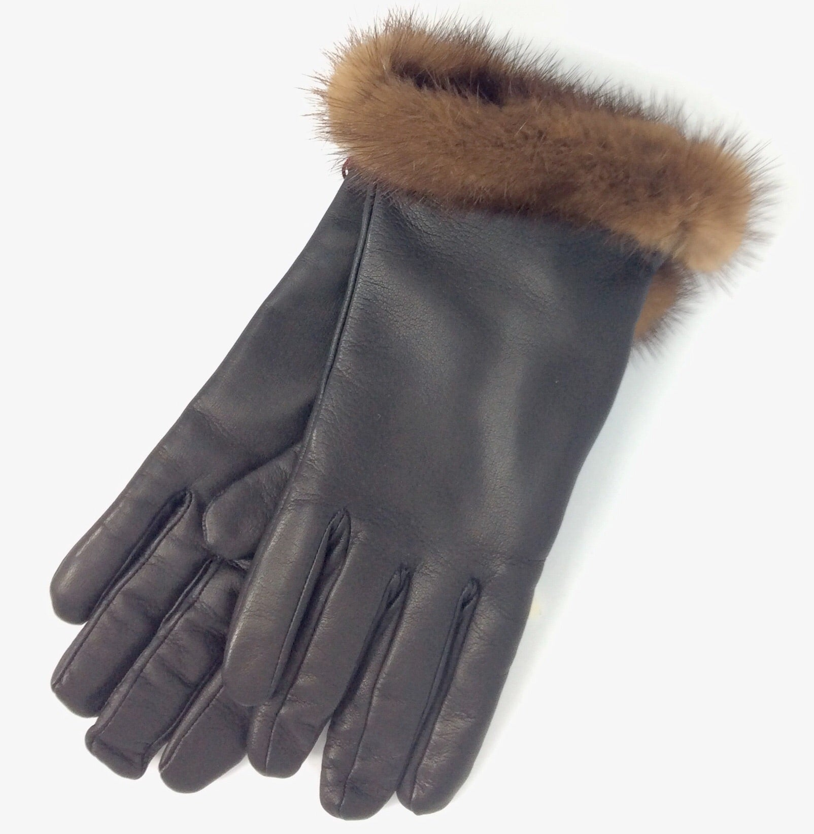 Italian black leather gloves with brown fur trim