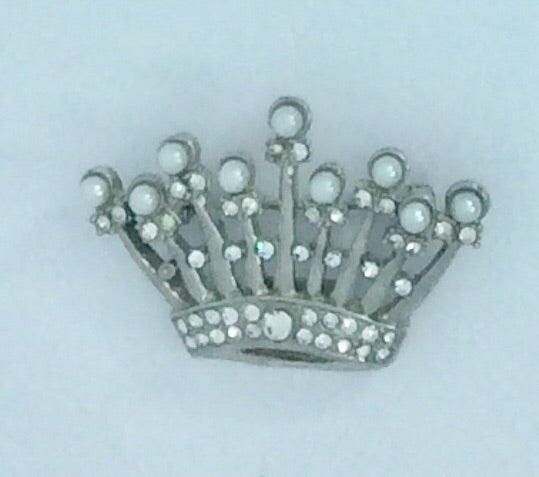 Pearl and Diamanté Crown Shaped Brooch