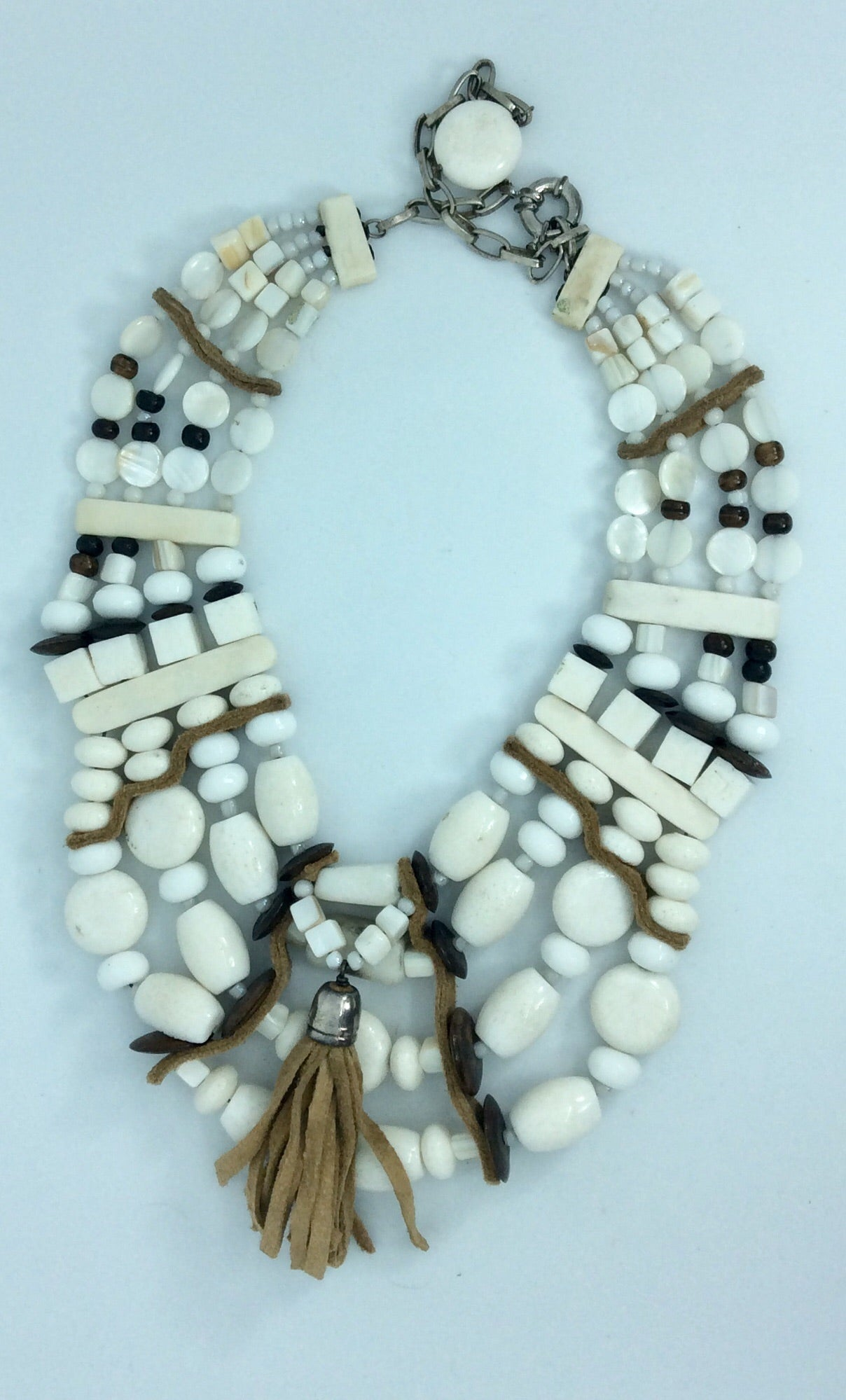 Elaborate multi white stone collar style necklace