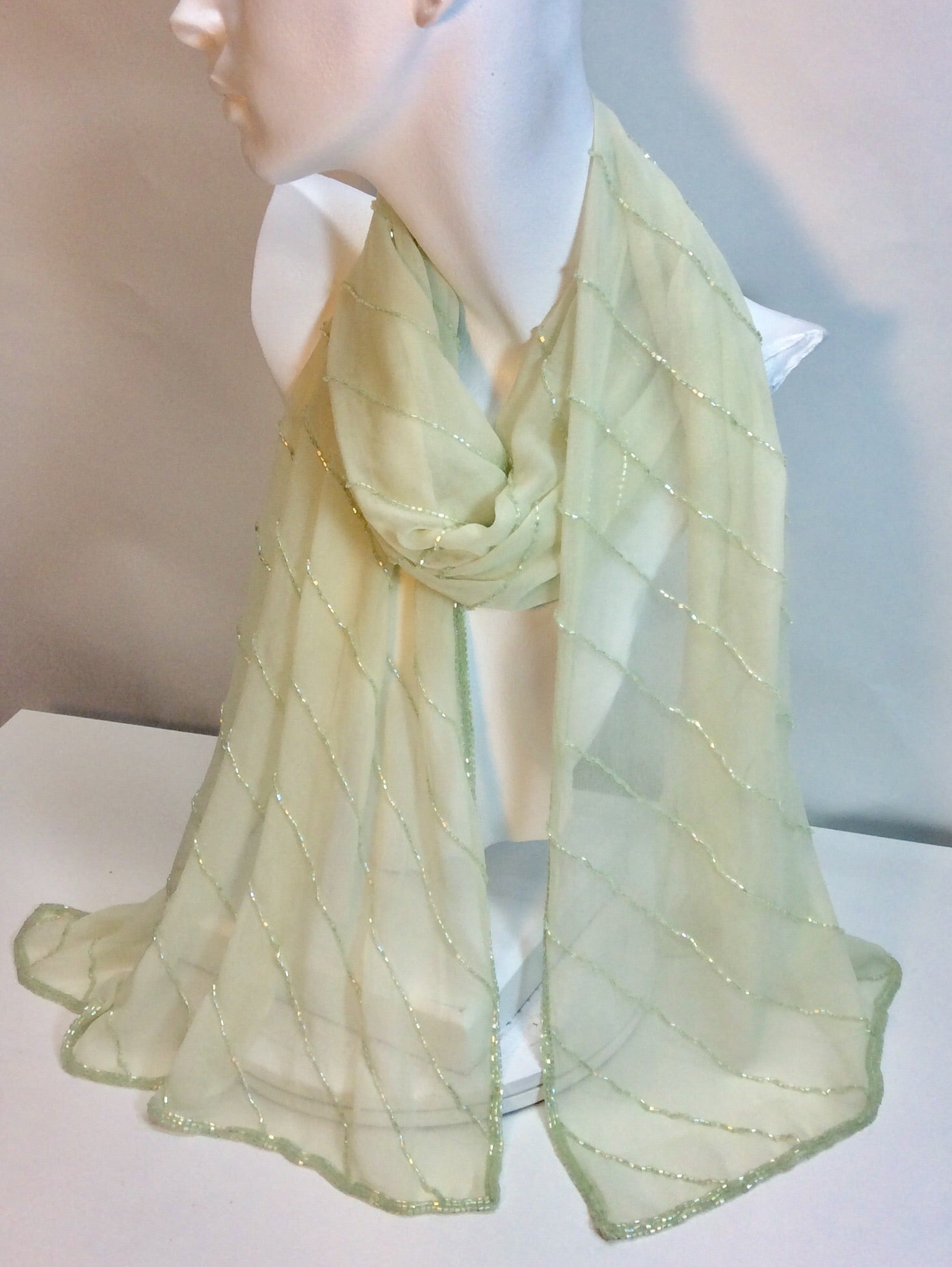 Pale mint green beaded silk scarf