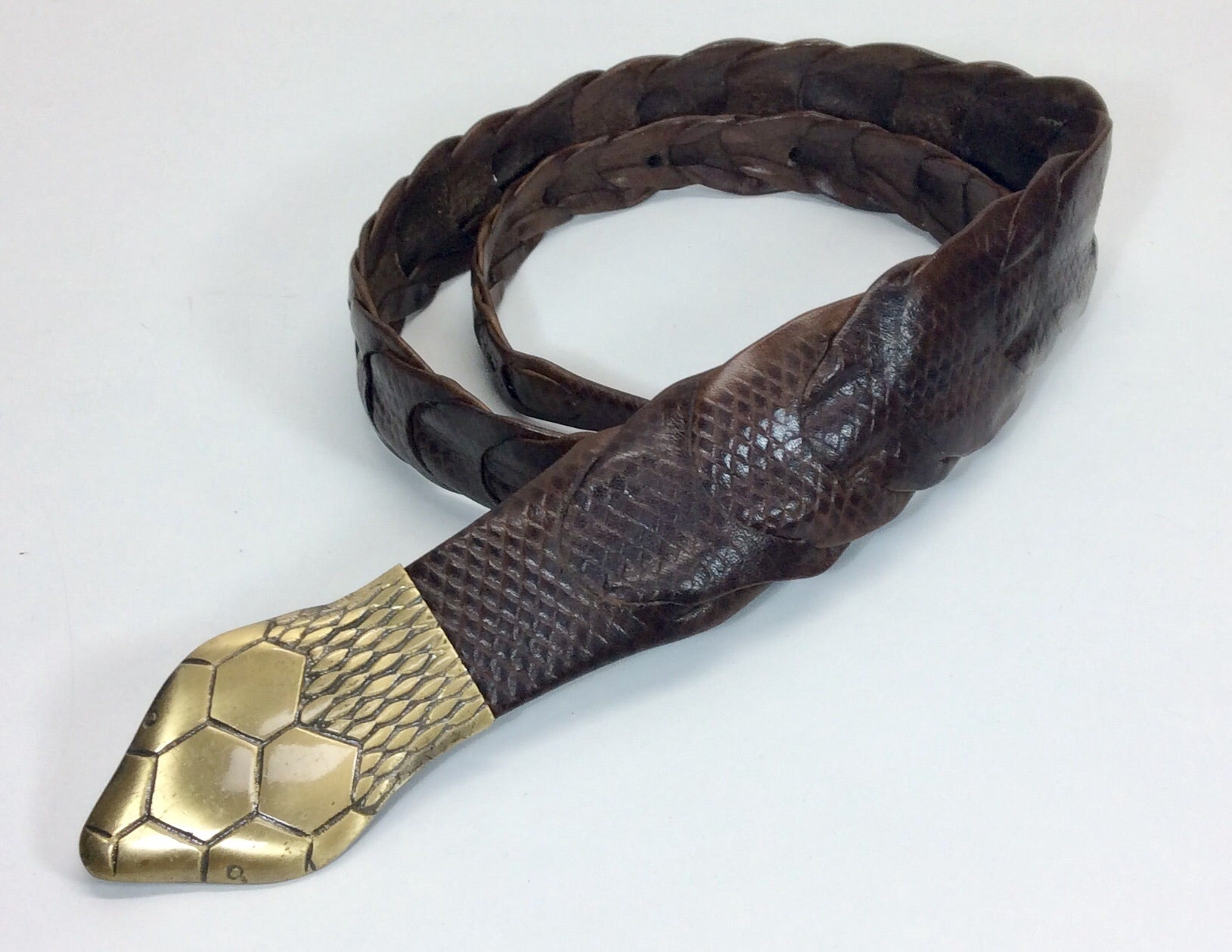Black plaited belt with silver snakeskin head
