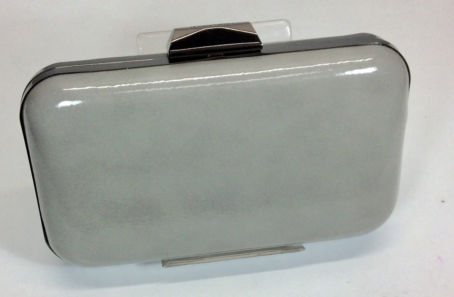 Grey patent finish evening bag