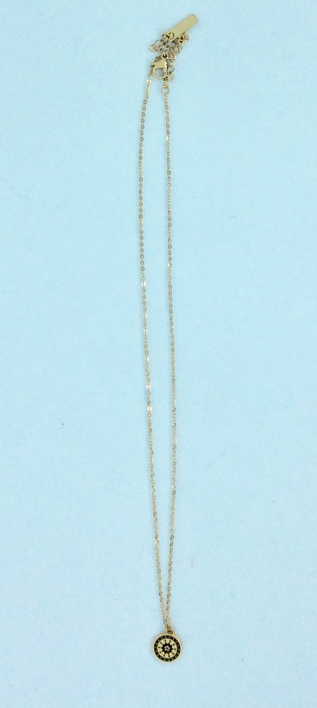 French gold plated stainless steel chain with blue stone necklace