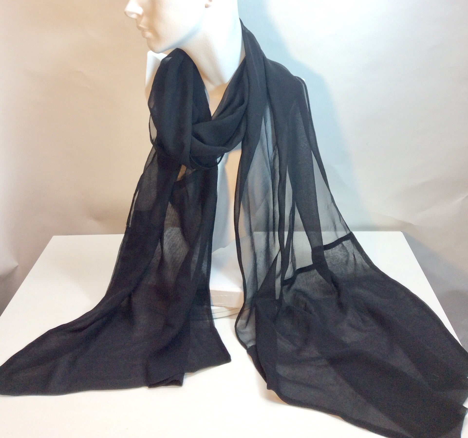 Plain black silk evening scarf with doubled ends