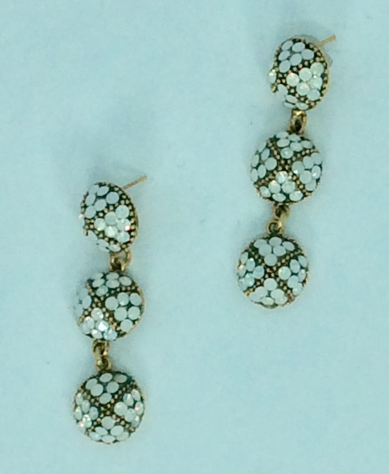 French gold & white earrings