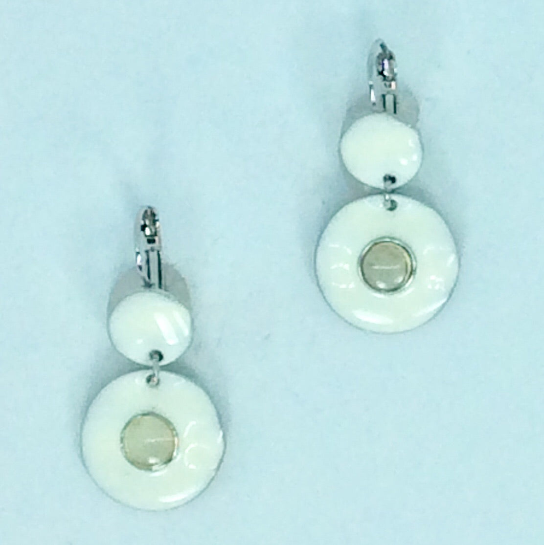 French White enamel circular earrings french hook