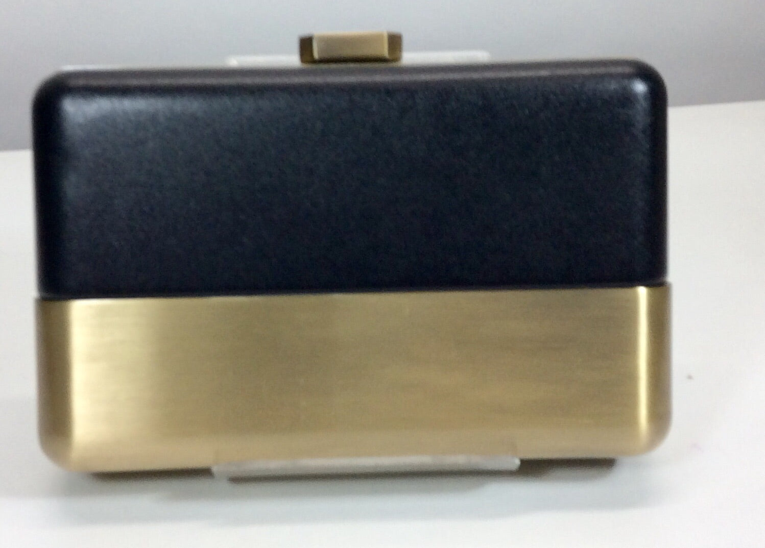 Gold and black box style evening bag