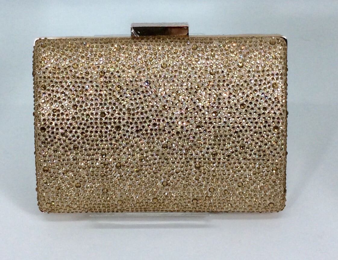 Gold crystal evening clutch bag with gold chain