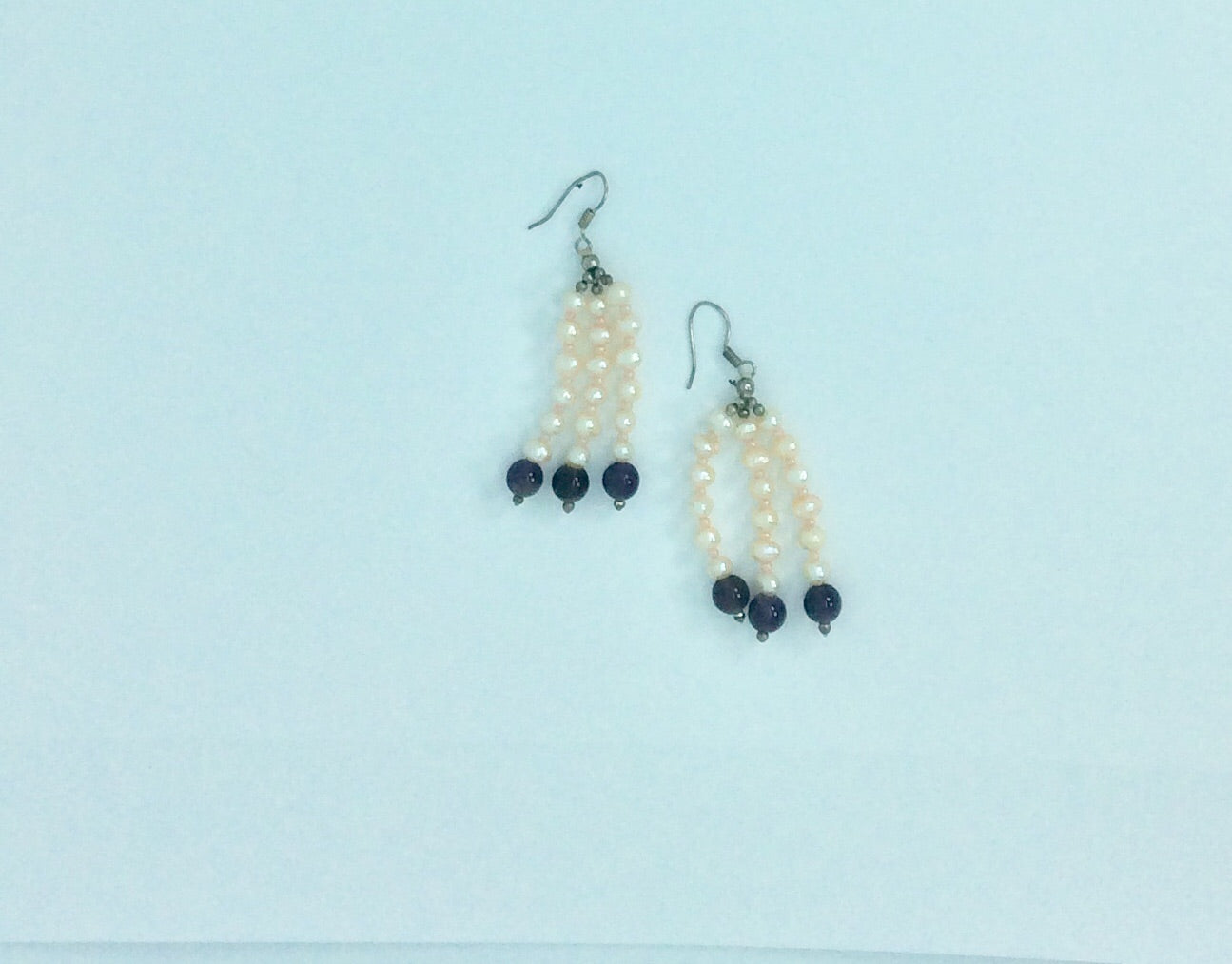 Three string pearl with amethyst ball earrings