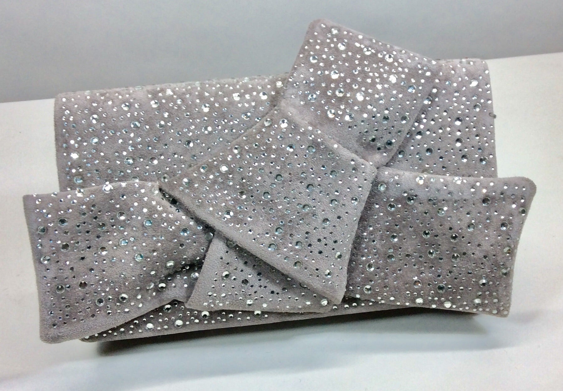 Glamorous crystal studded grey suede evening bag