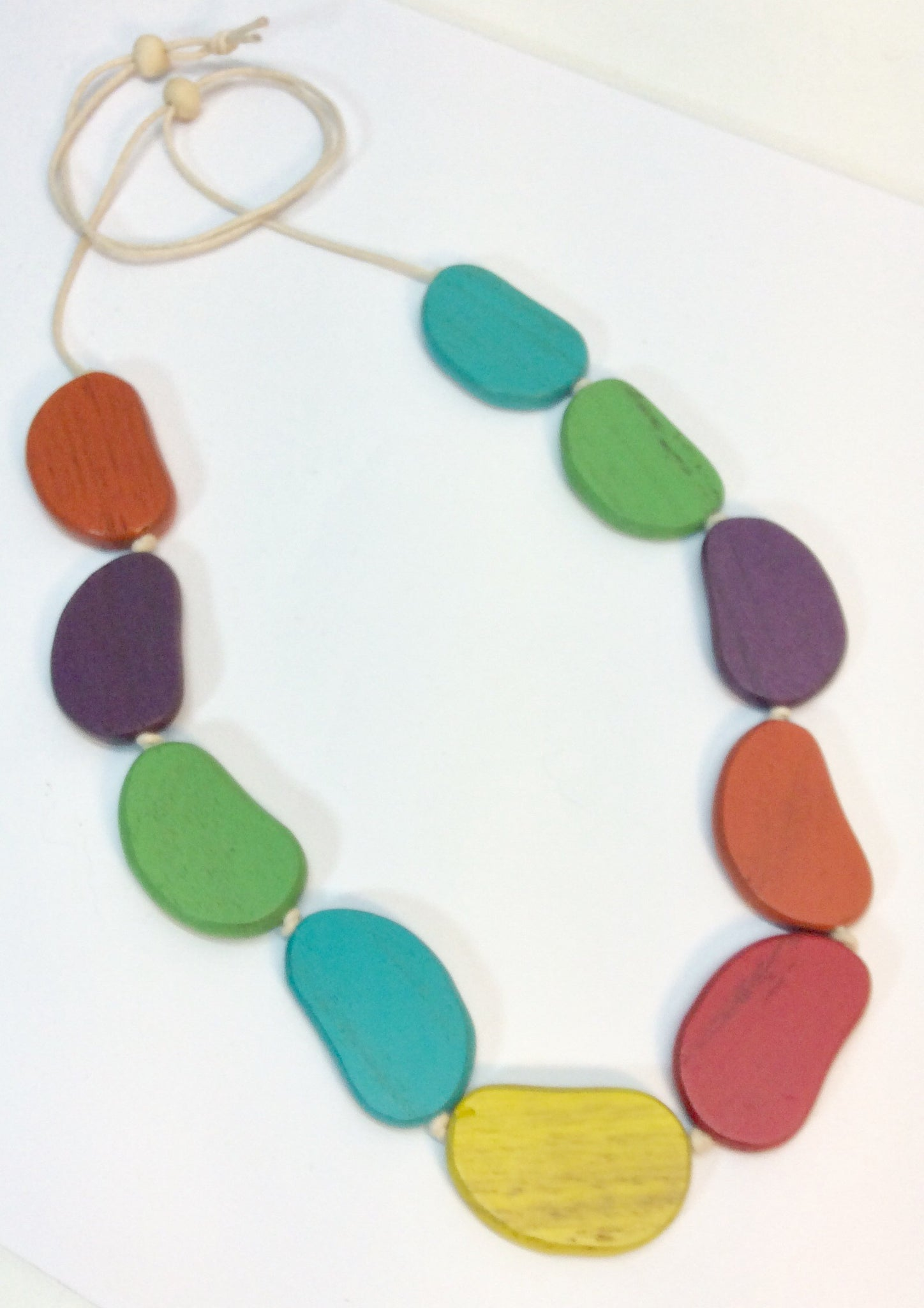 Vibrant coloured wooden bead necklace