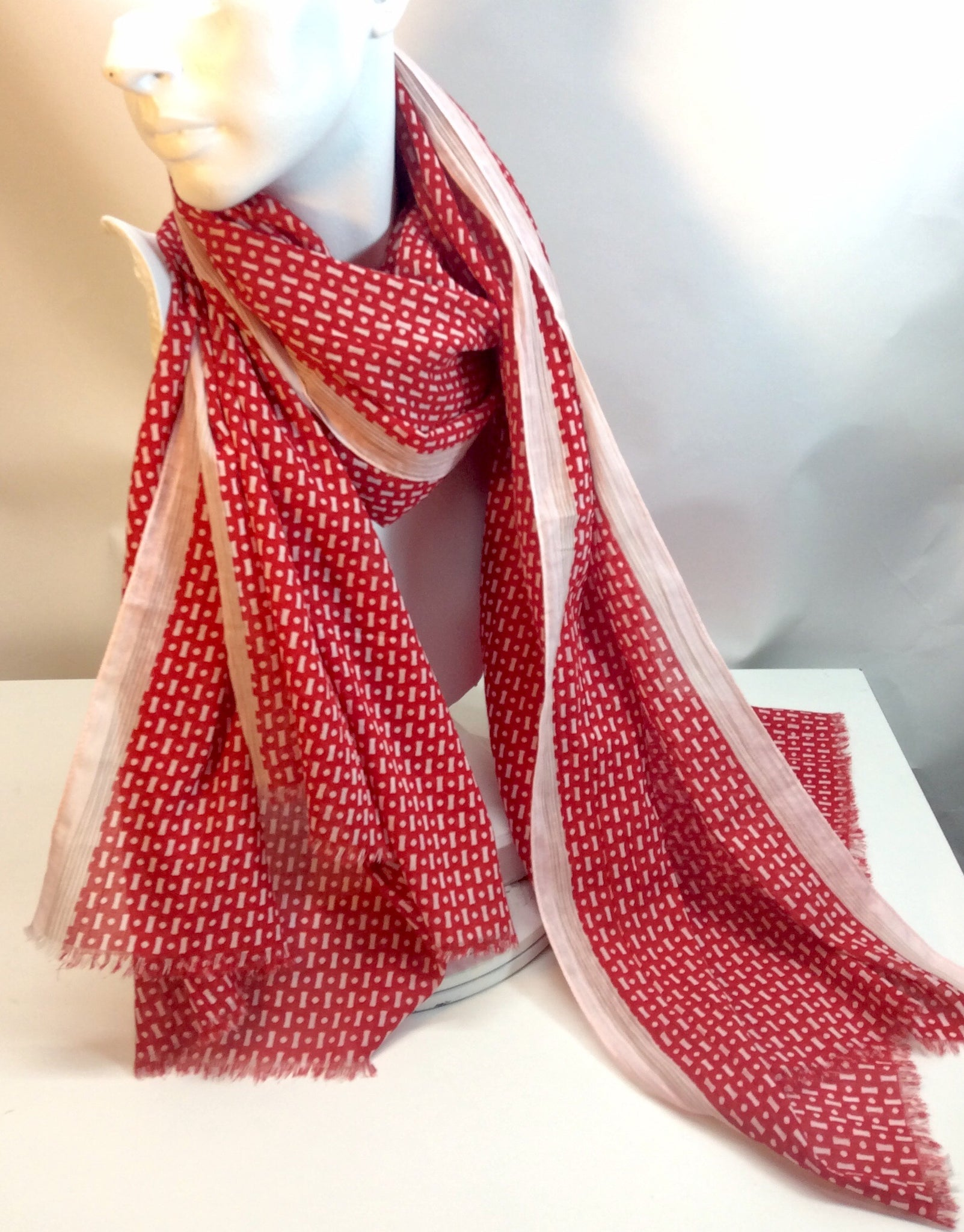 Red and white printed cotton scarf