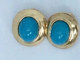 Turquoise and gold clip on earrings