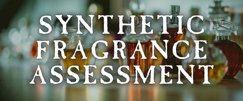 Text says Synthetic Fragrance Assessment over blurred image of glass perfume bottles
