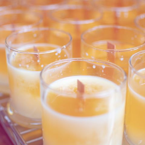 Sea Witch Botanicals candles in production - soy wax with a wooden wick