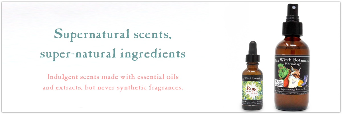 Supernatural scents, super-natural ingredients. Indulgent scents made with essential oils  and extracts, but never synthetic fragrances. Perfumes by Sea Witch Botanicals made with essential oils and plant extracts.