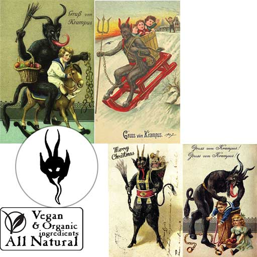 A collection of wicked Krampus designs on our vegan, organic, all-natural body soap