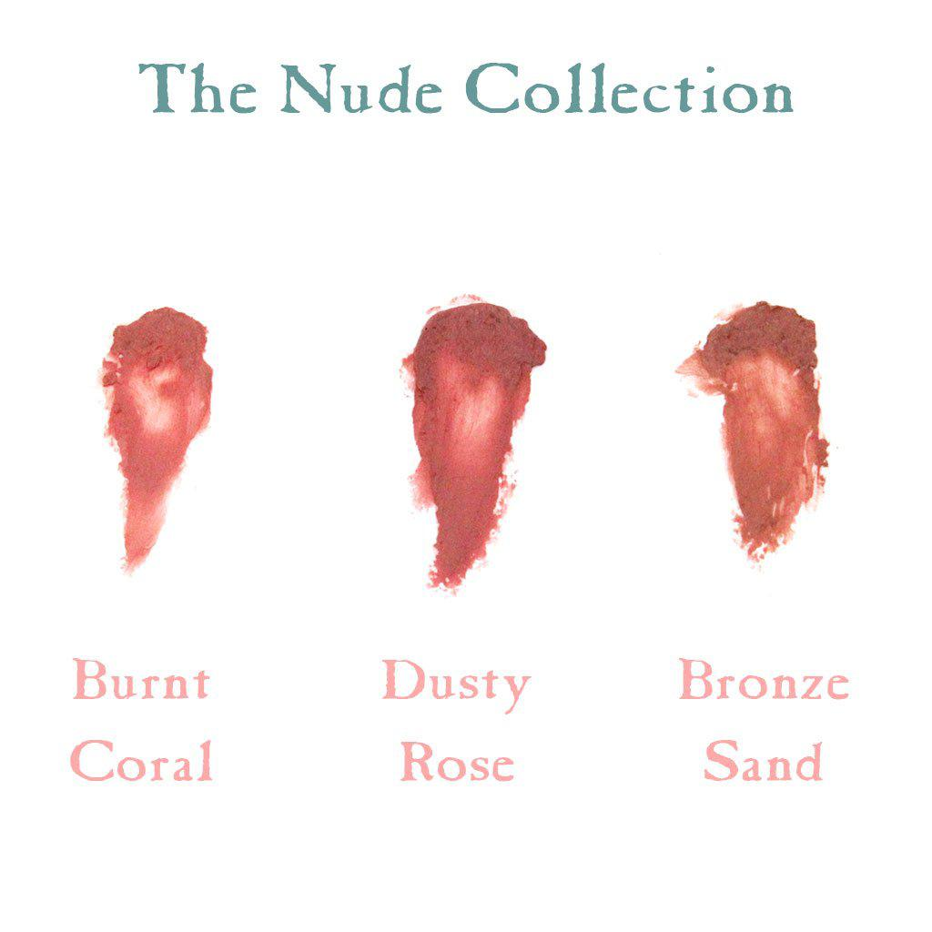 Vegan Lip and Cheek Tint: The Nude Collection - Burnt Coral, Bronze Sand, Dusty Rose-Lipcare-The Nude Collection-Sea Witch Botanicals