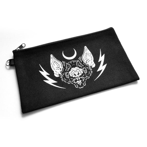 bat, moon, and lightning bolts - Night Power stash bag by Nikol King.