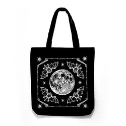 Night ritual bats full moon cotton tote bag