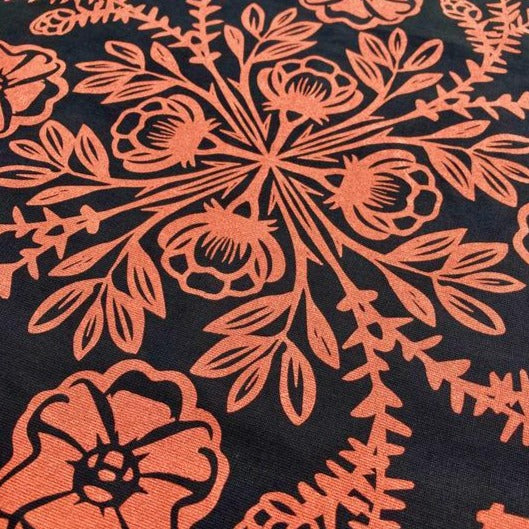 closeup of nootka rose + western hemlock altar cloth, bandana