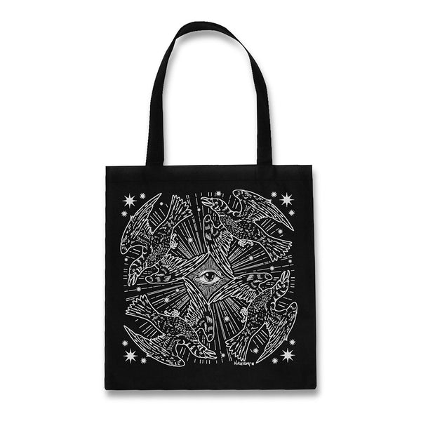 Providence raven black cotton tote bag by Nikol King
