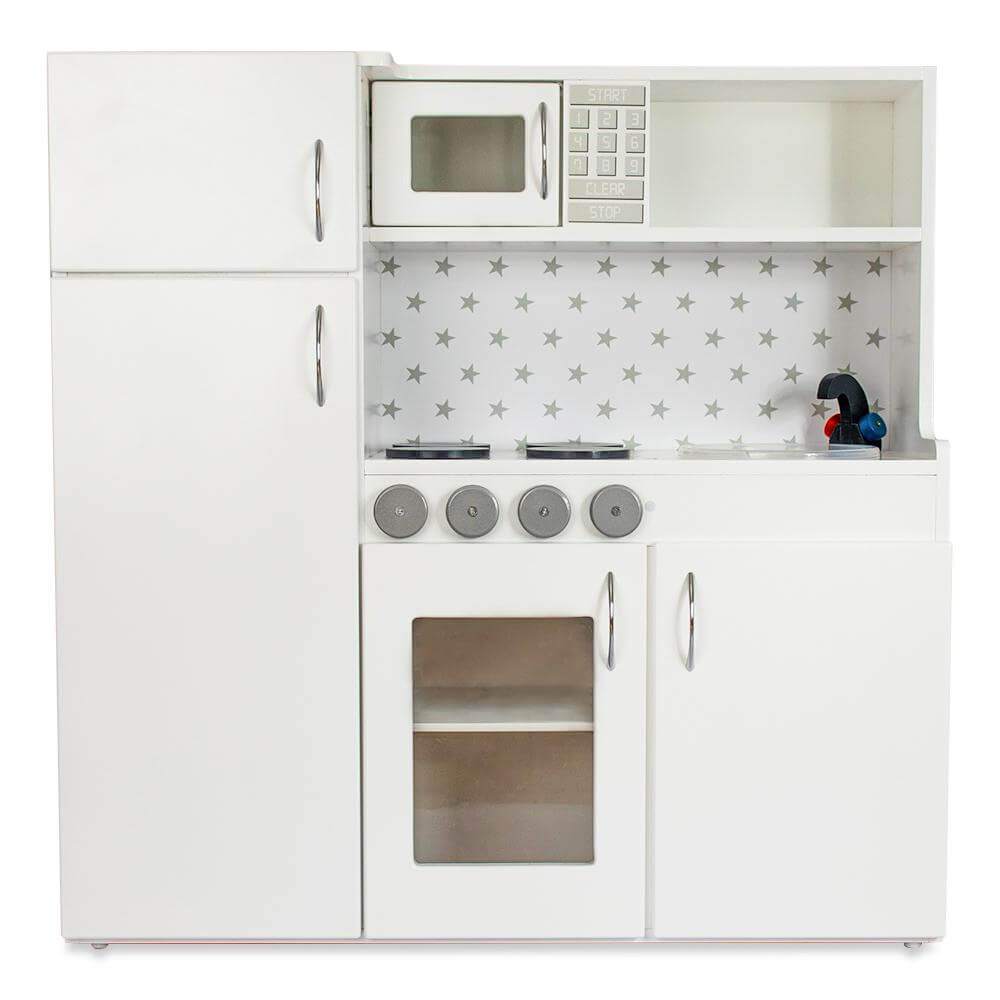 White wooden kids play kitchen, lil peanut buttercup kitchen playset view from the front
