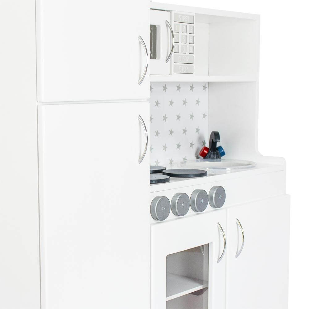 White wooden kids play kitchen, lil peanut buttercup kitchen playset medium view from the left