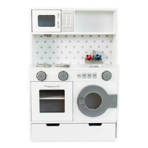 White and silver jelly bean kids play kitchen, lil peanut jelly bean kitchen playset view from front