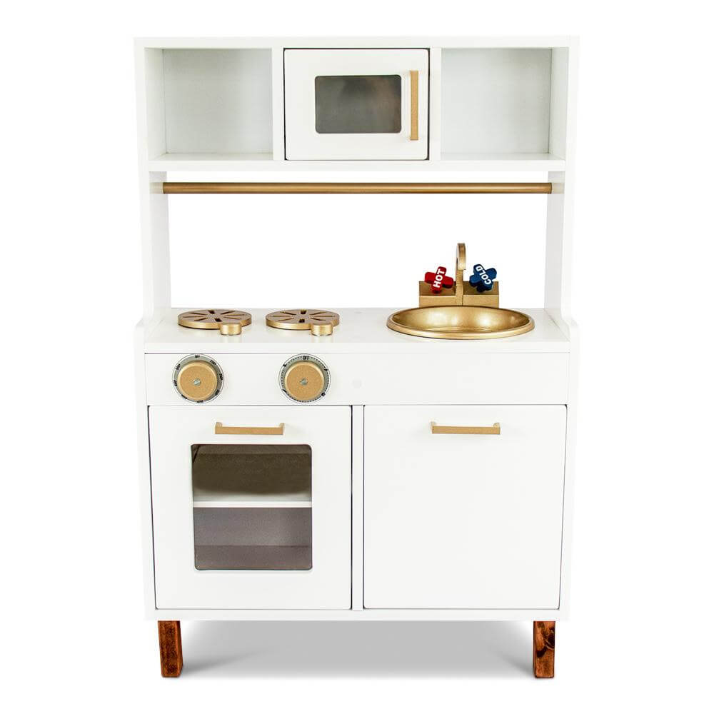 Gold and white scandi themed kids play kitchen, lil peanut scandi kitchen playset view from front