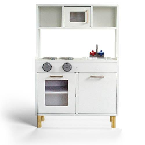 White and silver scandi themed kids play kitchen, lil peanut scandi kitchen playset view from front