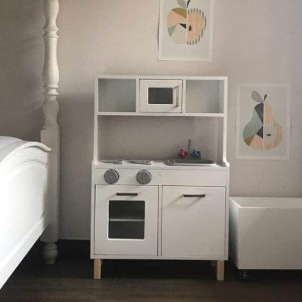 White and silver scandi themed kids play kitchen, lil peanut scandi kitchen playset in a childs bedroom