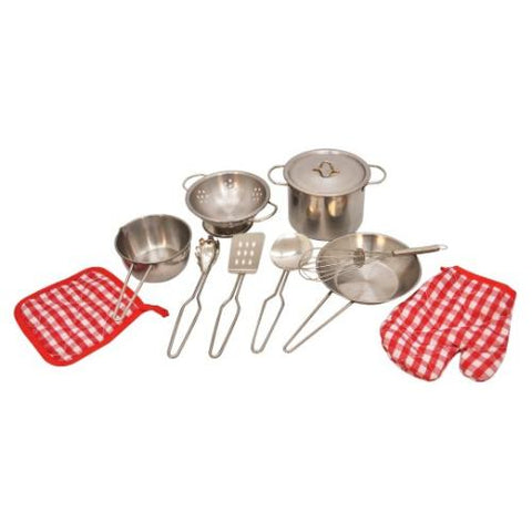 11 Piece Stainless Steel Pots & Pans Cookware Playset