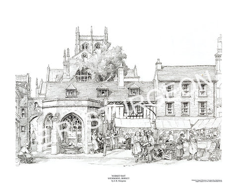 Market Day, Sherborne, Dorset - Pencil Drawing