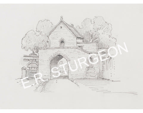 Hanging Chapel, Huish Episcopi, Somerset - Pencil drawing