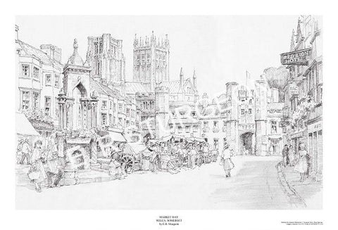 Market Day, Wells, Somerset - Pencil Drawing