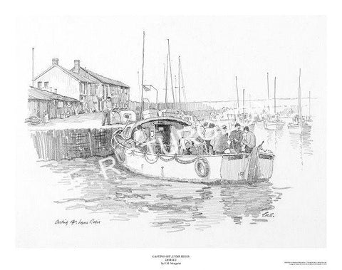 Casting Off, Lyme Regis, Dorset - Pencil Drawing