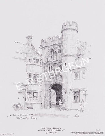 Penniless Porch, Wells, Somerset - Pencil Drawing