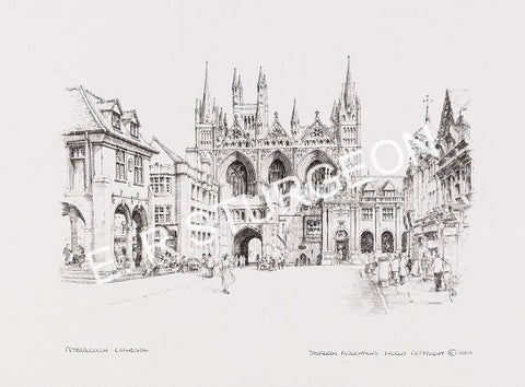 Peterborough Cathedral, Cambridgeshire - Pencil Drawing