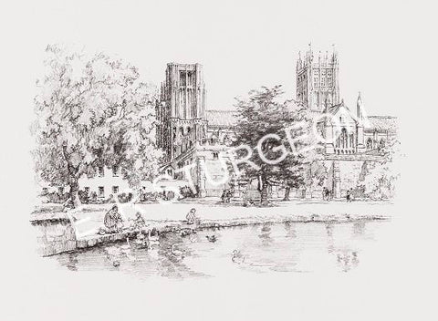 Wells Cathedral, Somerset - Pencil Drawing