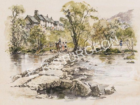 Tarr Steps, Exmoor, Somerset - Hand Tinted