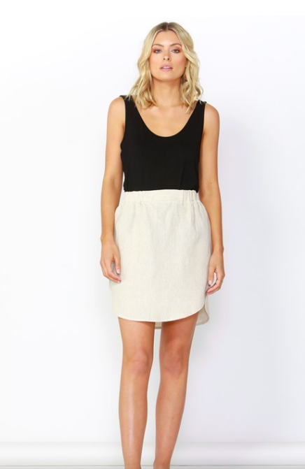 Duke Linen Skirt - Natural